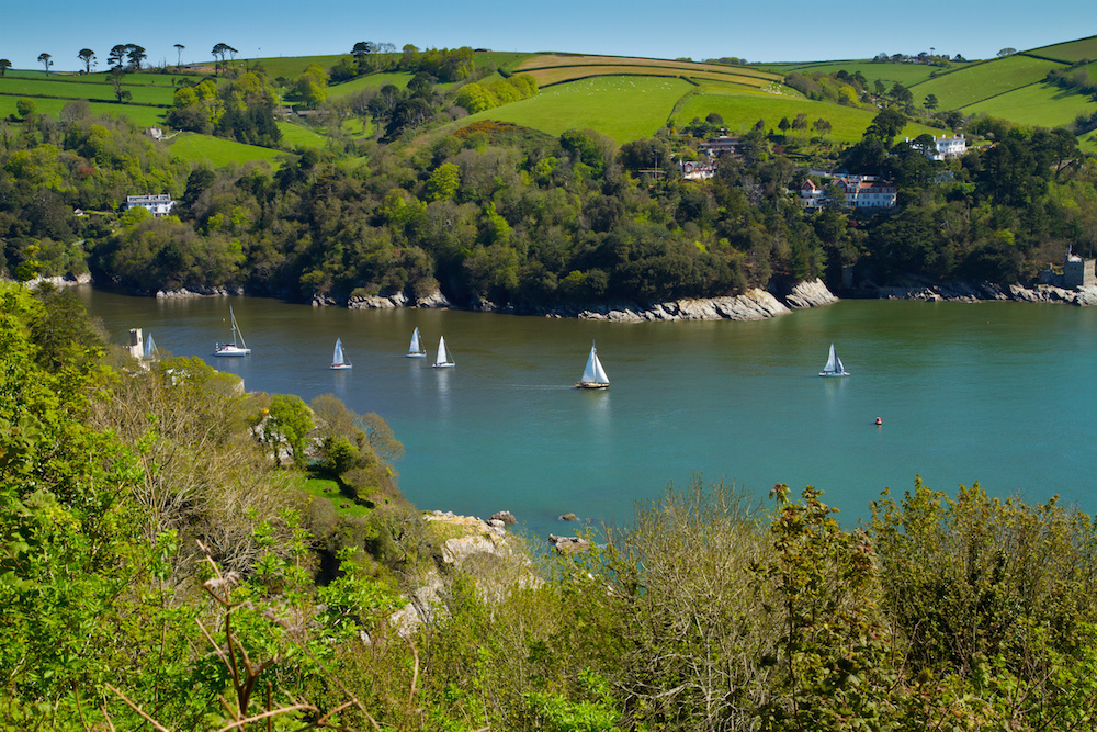Yachts sailing on the River Dart in Devon